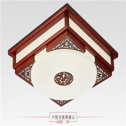 现代中式led吸顶灯实木羊皮灯正方形书房卧室房间装修灯