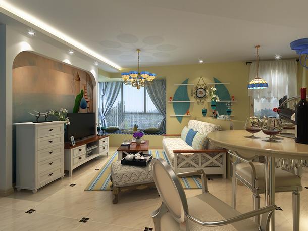 95m2三居地中海风格客厅电视背景墙装修效果图,地中海风格五斗柜图片