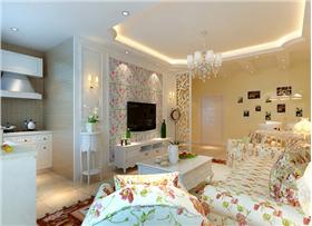 中天錦庭60平米田園白色實木家具結合,貼近自然又顯溫馨浪漫