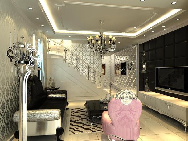 105㎡三居室欧式风格客厅吊顶装修效果图-欧式风格吊灯图片