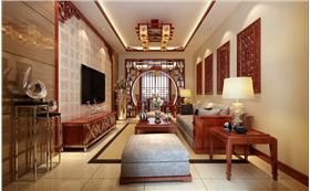 花园东路小区105平米三居室中式風格 超阵容豪华装修设计