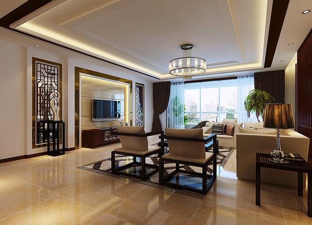 120m2三居室新中式风格客厅吊顶装修效果图,新中式风格边几图片