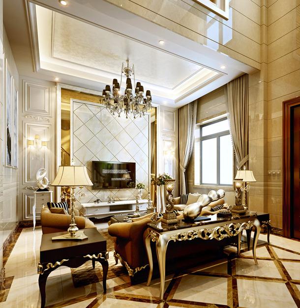 300㎡别墅欧式风格客厅电视背景墙装修效果图-欧式风边几图片