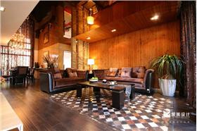 【聚美設計】寧靜自然,生態田園混搭loft樣板間