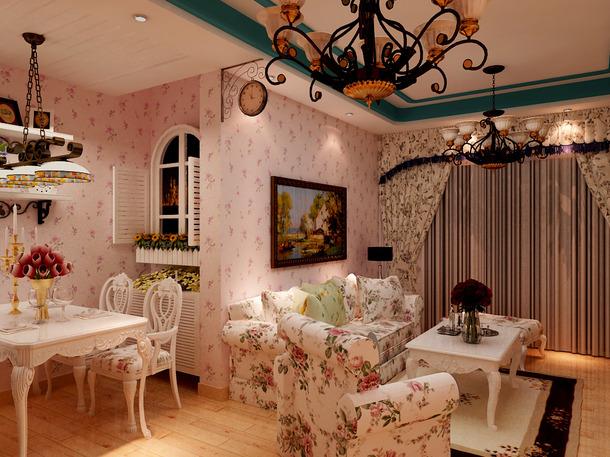 欧式田园风格餐厅吊顶装修效果图-欧式田园风格餐桌椅图片