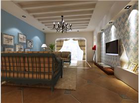 讓伴隨著陣陣海洋香氣的地中海風遍布家居 105平二居室裝修效果圖