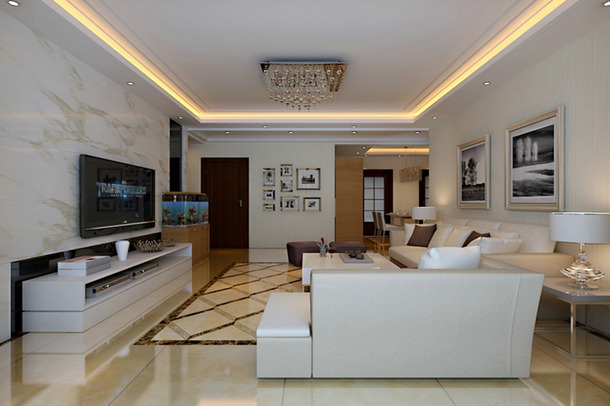 130㎡三居现代简约风格客厅吊顶装修效果图-现代简约风格脚凳图片
