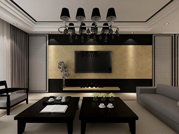 后现代风格客厅电视背景墙装修效果图-后现代风格吊灯图片