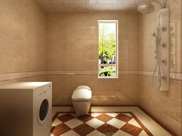 居室简约欧式风格卫生间背景墙装修效果图-简约欧式风格淋浴花洒图片
