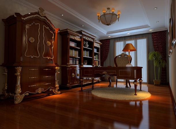 300平欧式古典风格别墅书房吊顶装修效果图,欧式古典风格红木欧式书柜