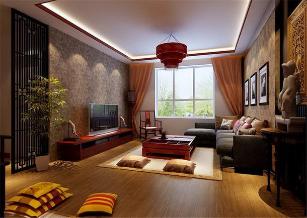 124㎡3室2厅1厨2卫简约中式风格客厅电视背景墙装修效果图-简约中式