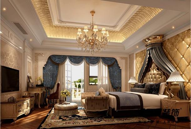340平欧式风格别墅卧室吊顶装修效果图,欧式风格实木电视柜图片图片