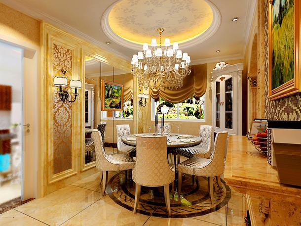 140㎡三居简约欧式风格餐厅吊顶装修效果图-简约欧式风格餐桌餐椅图片
