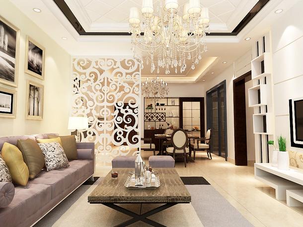现代简约风格客厅沙发背景墙装修效果图-现代简约风格沙发图片
