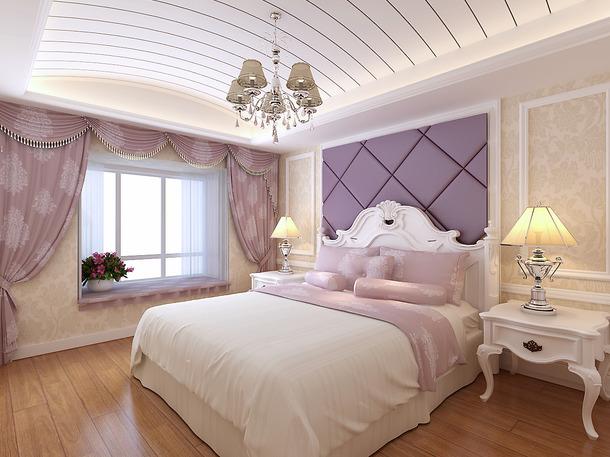 简约欧式风格卧室软包背景墙装修效果图-简约欧式风格床图片