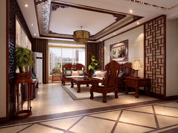140㎡三居中式风格客厅吊顶装修效果图-中式风格边几图片
