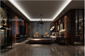 寬敞餐廳鏡面裝飾更顯層次感,暗色客廳創意燈具打造影院般的經典效果