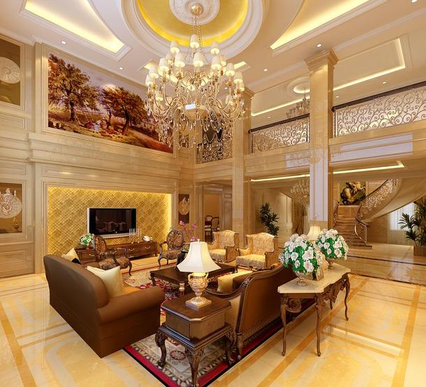 366㎡别墅欧式风格客厅圆形吊顶装修效果图-欧式风格沙发图片