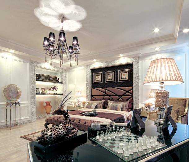 欧式风格别墅卧室吊顶装修效果图,欧式风格床头灯图片