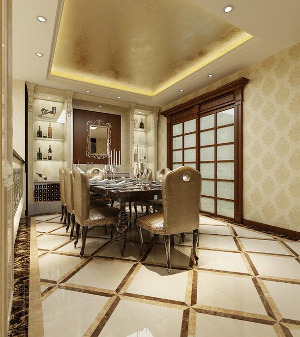 欧式风格别墅餐厅背景墙装修效果图-欧式风格餐桌餐椅图片