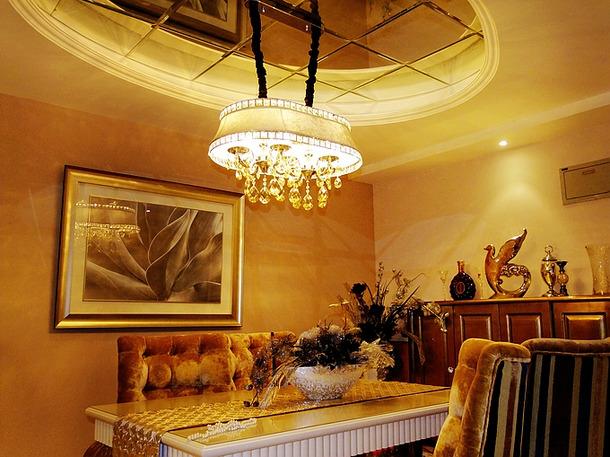 欧式风格餐厅吊顶装修效果图-欧式风格餐边柜图片