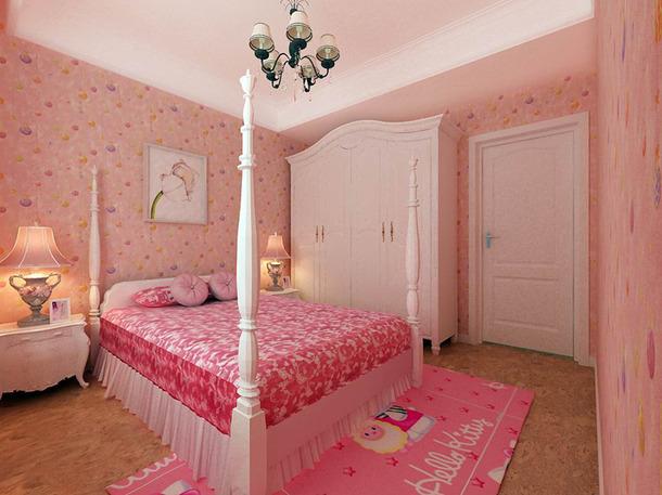 欧式风格三居室女孩房背景墙效果图,欧式风格吊顶图片
