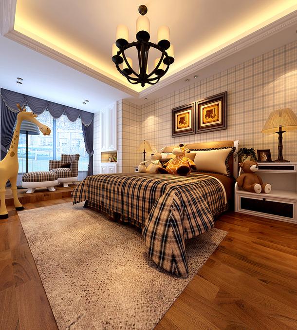 地中海风格主卧室背景墙纸装修效果图,卧室蓝色窗帘图片