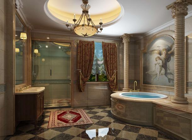 900㎡豪华别墅欧式风格浴室吊顶装修效果图-欧式风格浴缸图片
