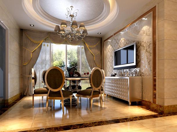 欧式风格餐厅吊顶装修效果图,欧式风格餐边柜图片