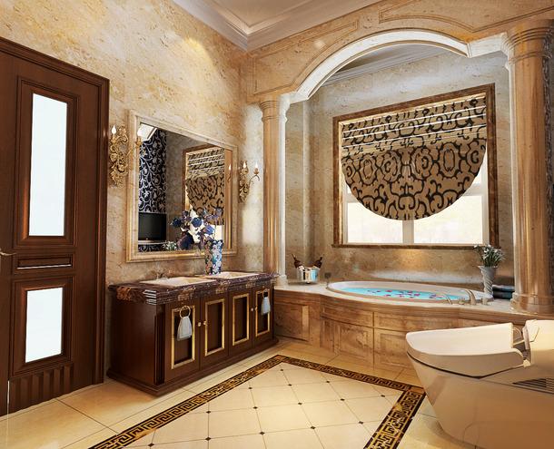 450㎡别墅欧式风格浴室背景墙装修图片-欧式风格浴缸图片