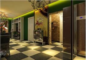100平客廳壁掛使用儲物格,實用美觀兩不誤,三居綠色家園,考究用色營造完美婚房