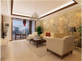 超大卧室创意生态床头背景墙+休闲阳台,165㎡中式三居酷毙了!