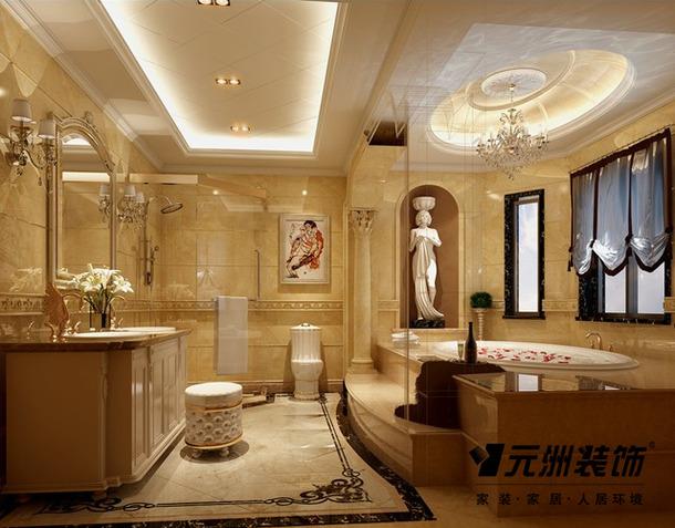 340平欧式风格别墅浴室装修效果图,欧式风格栎木卫浴柜图片