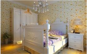 全職太太打造別致田園四居?簡潔吊頂,碎花壁紙塑造溫馨臥室