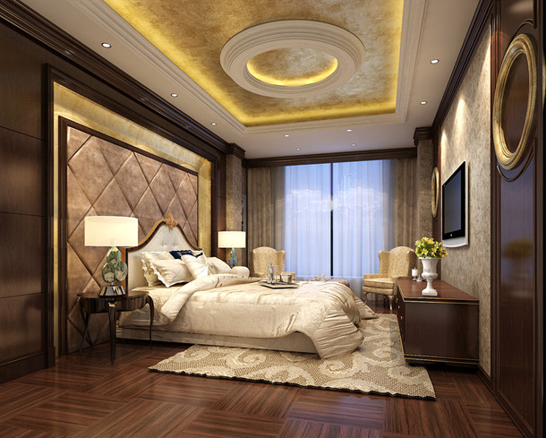 欧式风格别墅卧室吊顶装修效果图-欧式风格床图片