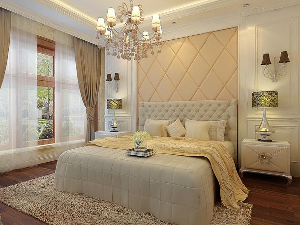 欧式风格三居室主卧室吊顶装修效果图,欧式风格窗帘图片