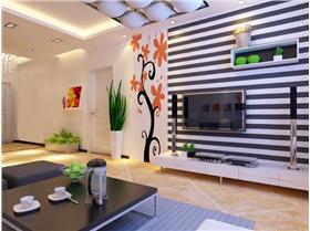時尚貼花&條紋壁紙,白領4.1萬打造85平簡約之家,綠植裝點美好心情