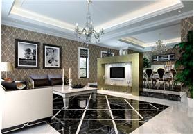 大宅演繹新古典的別樣溫馨,全景印花背景,完美詮釋魅力三居室