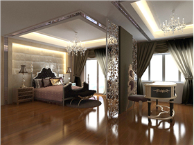 新古典三居浪漫奢華,銀色鏤花隔斷輕松隔離臥室and書房