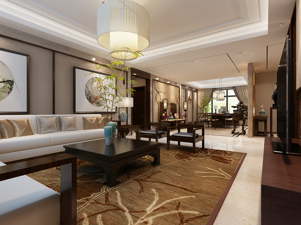 大户型新中式风格客厅背景墙装修效果图-新中式风格吊灯图片