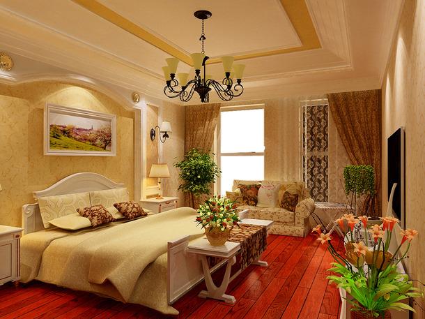 别墅360平米欧式古典风格卧室背景墙装修效果图,别墅360平米欧式古典