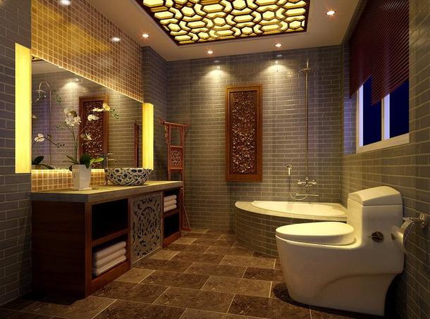 新中式风格浴室吊顶装修效果图-新中式风格化妆镜图片