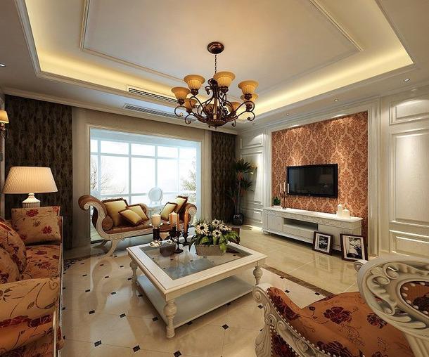 欧式风格客厅电视背景墙装修效果图-欧式风格电视柜图片