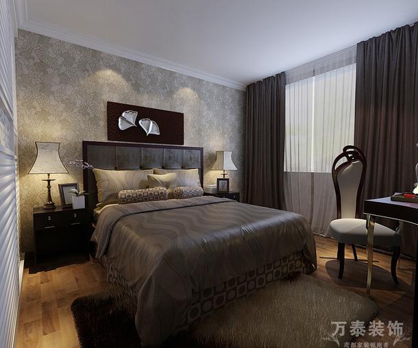 190m2大户型现代风格主卧室背景墙装修效果图,现代风格床图片