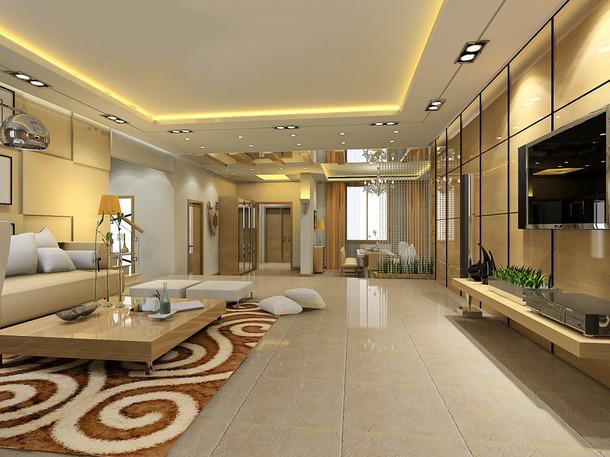 180㎡别墅现代简约风格客厅吊顶装修效果图-现代简约风格脚凳图片
