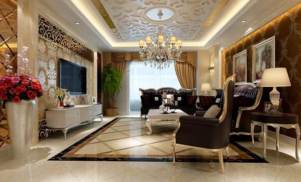 欧式客厅雕花造型吊顶装修效果图