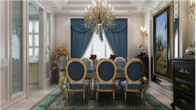 奢華的金色,搭配淡藍色,給你不一樣的奢華空間新詮釋。