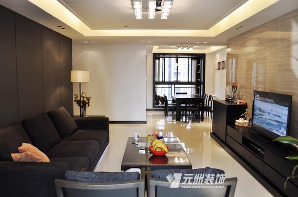 现代风格大户型客厅电视墙装修图,现代风格吊顶图片