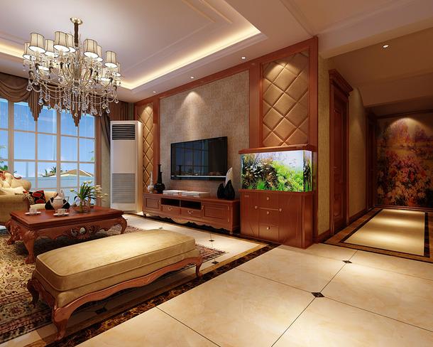 风格三室两厅两卫客厅电视背景墙装修效果图-简约欧式风格茶几图片