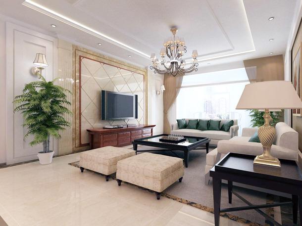 150㎡后现代风格客厅电视背景墙装修效果图-后现代风格边几图片